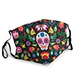 Mexican Sugar Skulls Day of The Dead Flowers Mask Face Mouth Cover Bandanas for Dust Anti-Haze Balaclavas Out Doors Festivals Sports Washable Reusable Facial Decorations for Women and Men Black