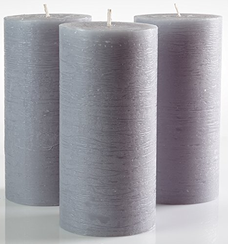 "Grey Pillar Candles Set of 3 3"" x 6"" Gray Unscented Dripless Weddings Home Decoration Relaxation Spa Church"