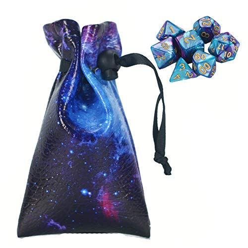 QIELIZI DND Dice Bag Pouch,PU Leather Dragon Dice Pouch Wih 7 Die Set Perfect for Dungeons and Dragons RPG D&D Dices, Coins and Accessories(Purple Universe)
