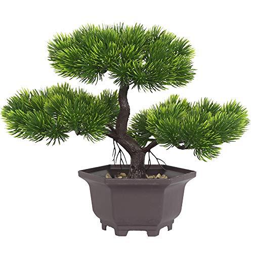 Aisamco Artificial Bonsai Árbol Decoración de Plantas Falsas Plantas Artificiales en macetas Plantas de bonsái de Pino japonés 22 cm de Altura 29 cm de Ancho para la decoración del hogar