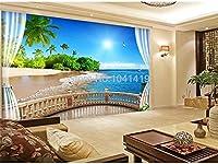 3D壁紙モダンバルコニー海の風景写真壁画壁画リビングルームテレビソファ寝室の装飾壁紙接着剤ステッカー-200cmx140cm