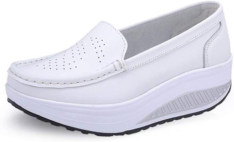 T-JULY Plus Size Summer Women Flat Platform shoes Woman White Nursing shoes Cut-Out Loafers Slip on Moccasins shoes Woman