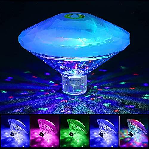 Schwimmende Pool Licht, RGB Mehrfarbige Poolbeleuchtung Whirlpool Licht mit 7 Modi, IP68 wasserdichte UnterwasserLicht LED Spa Licht Teichbeleuchtung für Swimmingpool, Disko, Party, Aquarium, Teich