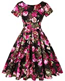 MINTLIMIT Women's 1940s Retro Vintage A-Line Short Sleeves Evening Party Swing Dress (Floral Fuchsia,Size 2XL)