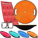 MSPORTS Balance Board Premium 40 cm Durchmesser inkl. Übungsposter und Work Out App GRATIS - Therapiekreisel Physiotherapie Wackelbrett (Pumpkin Orange)
