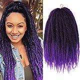 Purple Marley Hair Braids Afro Kinky Curly Marley Twist Braiding Hair for Butterfly Locks Synthetic Cuban Crochet Braiding Hair Extensions (1B/Purple)