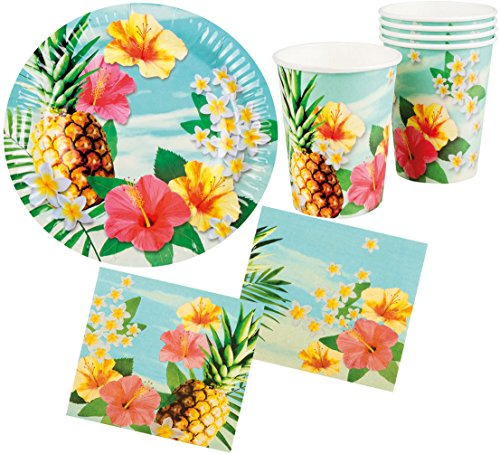 Karneval-Klamotten Party Set Hawaii Blume Hibiskus 24 Teile : Teller, Becher, Servietten