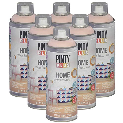 Pintyplus Home Spray Paint - Light Rose - Low Odor, Low VOC, Matt Finish, Water Based, Environmentally Friendly, Ideal for Indoor Household Projects, Pack of 6