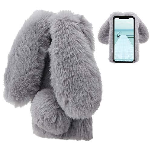 LCHDA Plüsch Hülle für iPhone X/iPhone XS 5.8 Zoll Künstlicher Haar Flauschige Kaninchen Handyhülle Mädchen Süße Hasen Ohren Fell Niedlich Handytasche Stoßfest Schützend TPU Silikonhülle-Grau