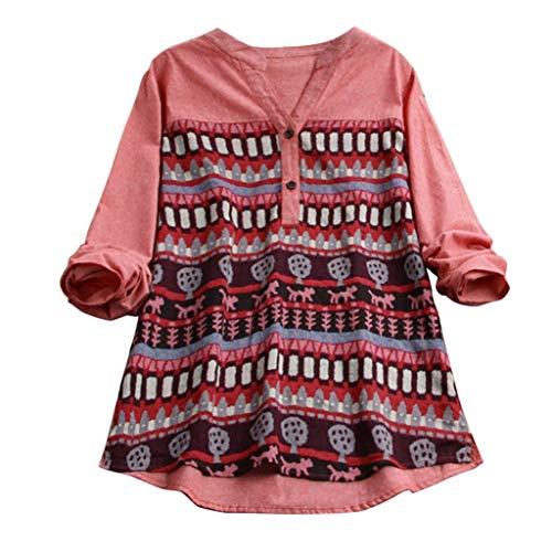MRULIC Damen Fledermaus Hemd Lässig Locker Top Dünnschnitt Bluse Frühling T-Shirt Leinenbluse Freundin(F3-Kaffee,3XL)