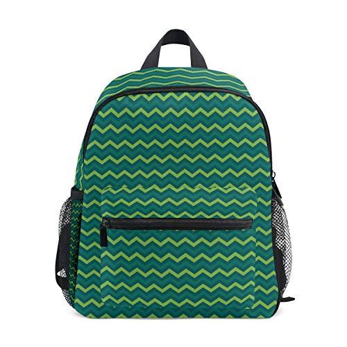 MONTOJ Green Wave Line Pattern Sac d'école pour garçons Pliable d'école Sac à Dos
