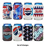 Toyzon Can Coolers (Set of 8) for Pepsi Cola Soda, Beer Can Hugger, Beverage Insulator; Fits 12oz Cans, Longneck & 16oz Bottles; Foldable for Space Saving, 100% Thick Polyurethane Foam