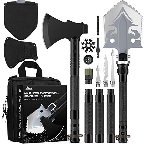 Camping Shovel Axe  MultiTool Folding Survival Shovel and Camping Axe 1939 inch Lengthened Handle High Carbon Stainless Steel with Tactical Pack for Camping Fishing Expedition Emergency etc