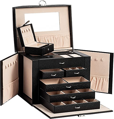 ADEL DREAM Schmuckkasten, Schmuckkoffer, groß, abschließbar, 5 Ebenen mit 5 Schubladen, mit Spiegel, für Ringe, Ohrringe, Halsketten und Armbänder, elegant und klassisch (Schwarz)