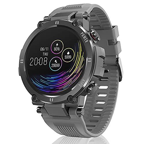 Reloj De Reloj Inteligente De Los Hombres Con Esfigmomanómetro Y Monitor De Ritmo Cardíaco IP68 Rastreador De Actividades De Bluetooth Impermeable A Prueba De Agua Reloj Inteligente Android Ios,Gris