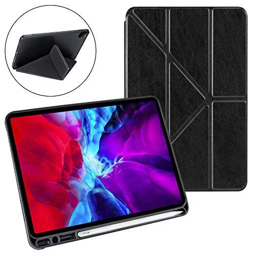 Hülle für iPad Pro 12.9 Inch 2020, futypei Ultra Dünn PU Leder Tasche Lederständer Klappenhülle Etui Flip Cover Case mit Auto Schlaf/Aufwach & Standfunktion Tablet Schutzhülle - Schwarz