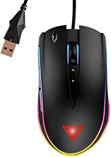 GAMDIAS Optical Gaming Mouse with Double RGB Streaming Light, Hera Software Supported, 8 Programmable Keys, Adjustable 120...