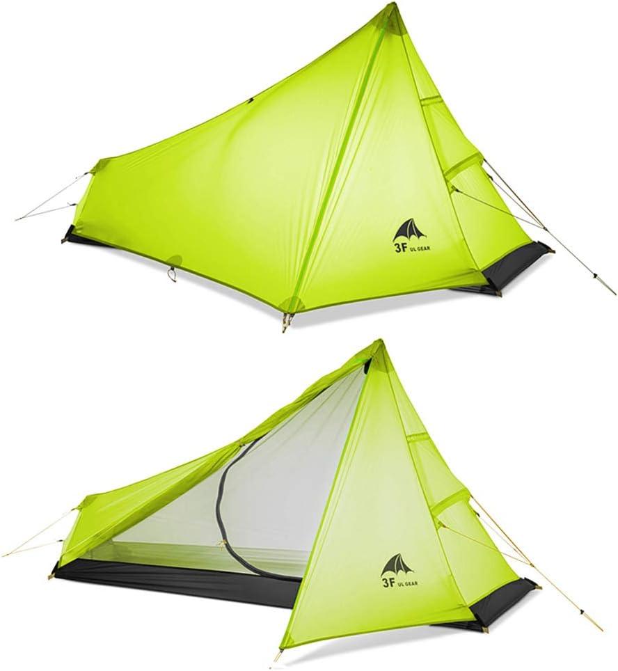 3F UL Tente de Camping Ultra-légère extérieure 3 Saisons 1 Personne Seule Tente Ultra-légère Revêtement en Silicone imperméable pour la Tente de Camping en Maille d'été