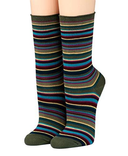 CRÖNERT Socken Longsocks Söckchen mit Rollrand Design Ringel 18231 (35-38, oliv 2169)