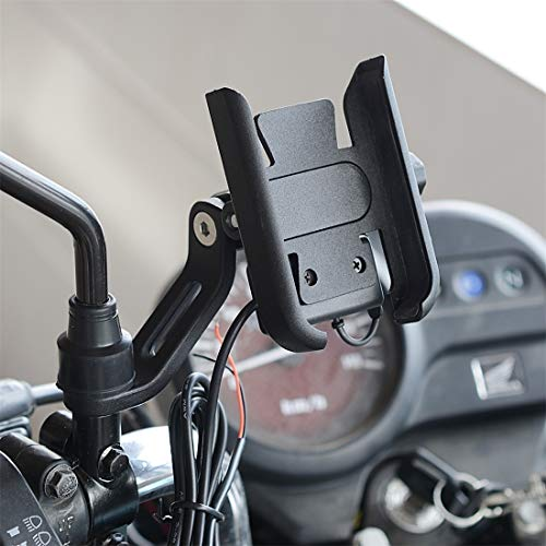 dayday light and beautiful CS-856D1 Motorcycle Rotatable Chargeable Aluminum Alloy Mobile Phone Holder, Mirror Holder Version(Black) (Color : Black)