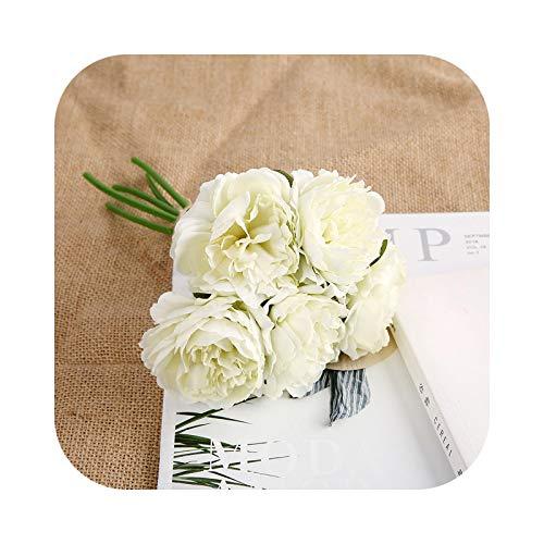Fake Flower - Flores artificiales, peonía artificial, flores de seda artificiales, para casa, boda, decoración ramo de flores