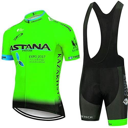 Hplights Maillot Cuissard Cyclisme Homme Tenue de Vélo Pro Vêtement VTT Manches Courtes - Combinaison de vêtements de vélo/Séchage Rapide/Respirant/Anti-Transpiration,A,XXXL