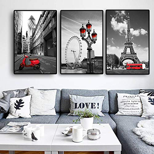 Torre Eiffel London Eye Arte de pared en blanco y negro Pintura en lienzo Carteles e impresiones de paisajes urbanos nórdicos Cuadros de pared para sala de estar   40x60cmx3 Sin marco