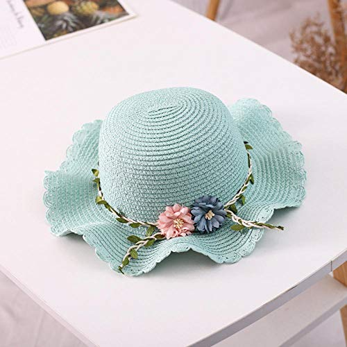Sombrero de Paja de Verano para niños, Sombrero de niña + Bolsa, Protector Solar Coreano, sombrilla, Maceta, Sombrero, Playa, Sombrero Verde, Sombrero_49-51CM
