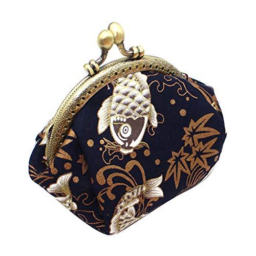 iSuperb Bolsa de la Moneda Mujer Paquetes Monedero Retro Pequeña Cierre de Corchete Monedero Coin Purse Pouch Bags para Moneda Efectivo Tarjeta Llaves (Negro)