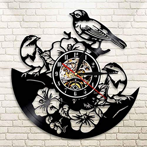 Dwqlx Tropical Peel and Stick Nature Wall Art Flowers Birds Wall Clock Birds In Tree Vinyl Record Clock Songbirds Sparrows Reloj De Pared