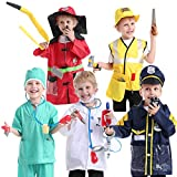 TOPTIE 5 Sets Role Play Costume for Kids, Doctor Surgeon Policeman Fire Chief Construction Worker Pretend Play Sets