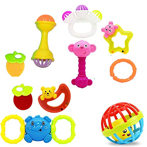 Vibgyor Vibes™ Lovely Mixed Attractive Colourful Non Toxic Rattles for Babies, Toddlers, Infants, Child . Set of 10