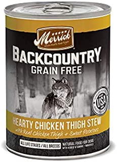 MERRICK BACKCOUNTRY DOG WET HEARTY CHICKEN THIGH STEW 365gm x 12cans