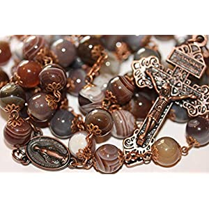 10mm Botswana Agate Rosary in Copper with Pardon Crucifix