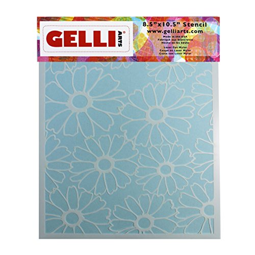 Gelli Arts Flower Stencil, Synthetic Material, White, 33 x 22.9 x 0.1 cm