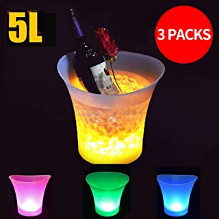 SMETA 3 PCS 5L LED Ice Bucket Colorful LED Ice Container Multi Colors Changing Wine Champagne Container for Party/Bar/KTV ...