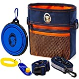 PERRAMA Dog Treat Bag, Training Pouch for Small and Large Dogs with Clicker and Collapsible Food Bowl BPA Free – Pet Treats Tote Bag with Waist and Shoulder Reflective Straps and Belt Clip (Blue)