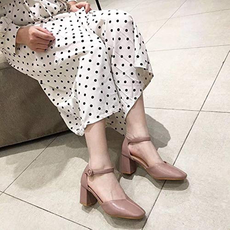 HOESCZS Dick Mit Einzelnen Schuhen Mode Mode Frühjahr Neue Wort Schnalle Mit Hohlen Hochhackigen Fee Schuhe Damenschuhe  erste Antwort