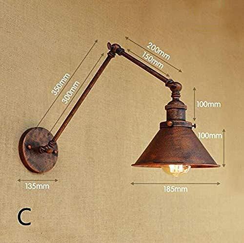 Meixian Wandlamp, binnen, vintage, industriële parasol, instelbare schommel, veranda, slaapkamer, balkon, trap, restaurant, bar, 110-220 V C, eenvoudig retro