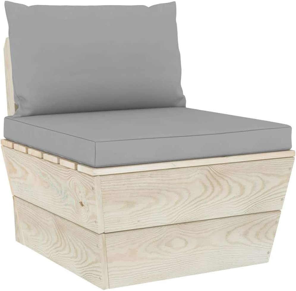 vidaXL 2X Pallet Sofa Cushion Garden Outdoor Patio Terrace Lounge Seating Back Sectional Sofa Home Furniture Set Cushions Gray Fabric