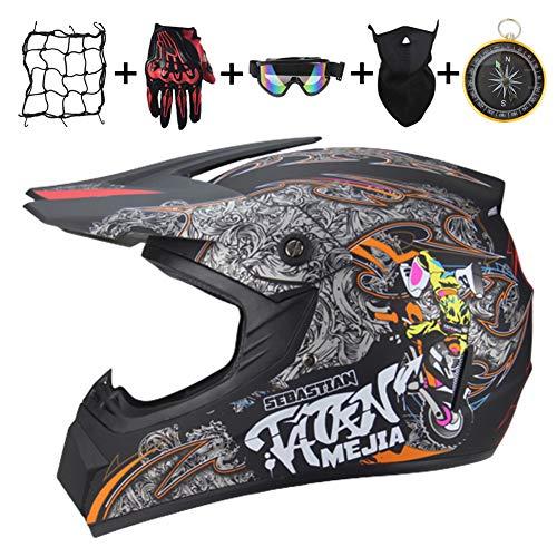 IURIMA Casco de moto para niños, para moto, quad infantil y Crossbike-S (57-58) L