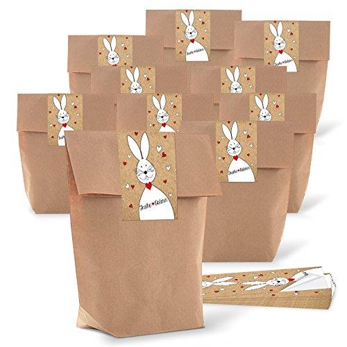 25 kleine braune Papiertüten Ostertüten Geschenktüten 14 x 22 x 5,6 cm + 25 Banderolen Osteraufkleber 5 x 15 cm Ostern Osterhase rot weiß Herz Verpackung FROHE Ostern zum Befüllen