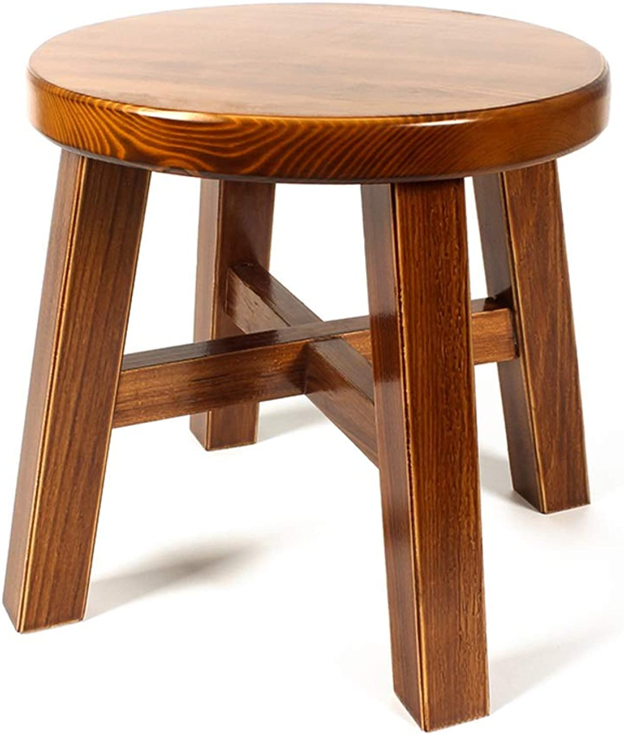 Solid Wood Vintage Footstool Creative Home Living Room Seat Stool Round 4 Legs Wooden shoes Stool V (color   A)