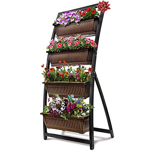 6-Ft Raised Garden Bed - Vertical Garden Freestanding Elevated Planter with 4 Container Boxes - Good for Patio or Balcony Indoor and Outdoor - Cascading Water Drainage (1-Pack/Espresso Brown)
