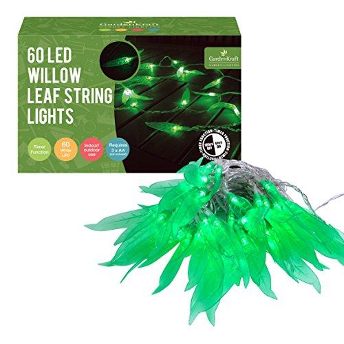 GardenKraft 13830 - Filo di luci con Foglie di salice, Colore: Verde