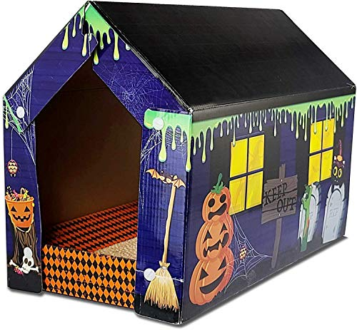 American Cat Club Halloween Cabin House for Cats with Catnip and Scratcher (ACCHW001AMZ)