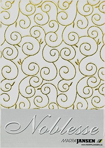 Marpa Jansen Noblesse 5 Bogen DIN A4 Baumwollpapier Arabesken Weissgold 50g/qm 470.776-02