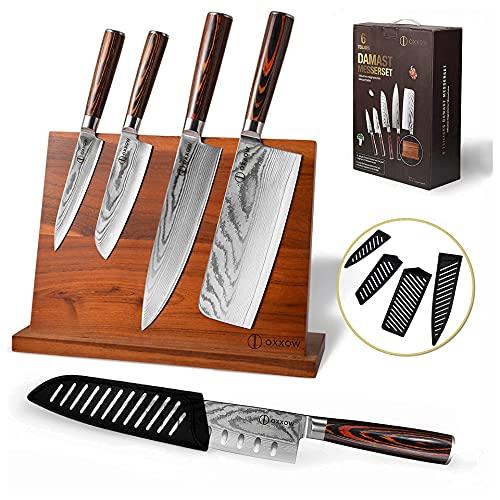 OXXOW Damastmesser set -6e Set Kochmesser Profi Messer - Damastmesser Set mit Messerblock - Damast küchenmesser aus 67 Lagen echtem VG10 Damaststahl - Japanisches Messer Set mit Pakkholzgriffen