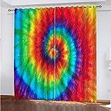 WLHRJ Cortina Opaca en Cocina el Salon dormitorios habitación Infantil 3D Impresión Digital Ojales Cortinas termica - 234x230 cm - Impresión en Espiral de Arco Iris