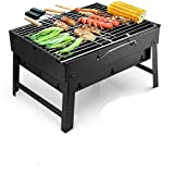 AJH Portable Barbecue Grill Stainless Steel <span class='highlight'>Char</span>coal Smoker <span class='highlight'>Char</span> <span class='highlight'>Broil</span> BBQ Pit Grill for Picnic Garden Terrace Camping Travel